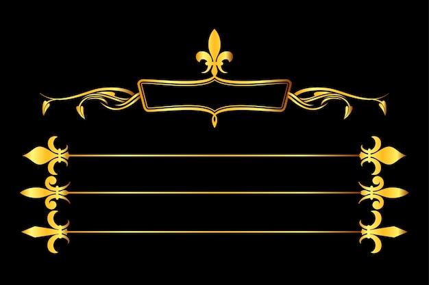 Il vettore dorato fleur de lys incornicia e bordi la priorità bassa nera