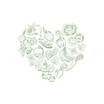 Il vettore ha abbozzato gli ortaggi freschi e frutti nella forma dell'illustrazione del cuore, manifesto dell'insegna del vegano