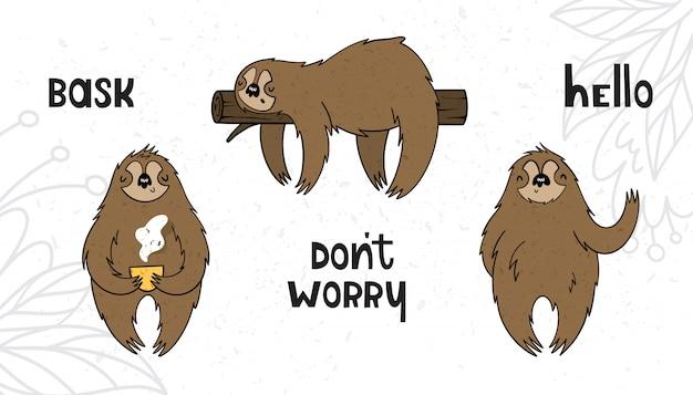 Il vettore ha impostato con i bradipi nello stile del fumetto con struttura