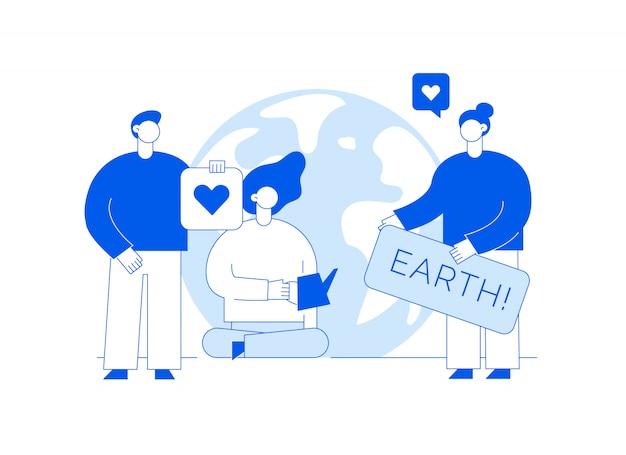 Il vettore salva l'illustrazione del pianeta