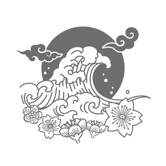 Il vettore simbolico di progettazione di logo del giappone illustra.