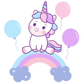 Il vettore sveglio dell'unicorno si siede sull'arcobaleno con i palloni ad aria