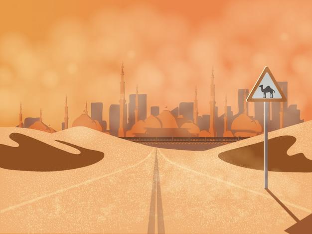 Il viaggio arabo viaggia nella strada del deserto del medio oriente con cartello stradale cammello, dune di sabbia, polvere e moschea.