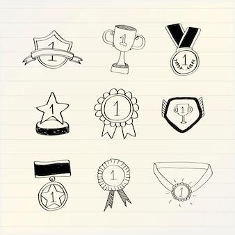 Il vincitore del primo posto doodles il vettore della raccolta