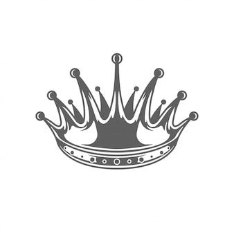 Ilhouette reale della corona di re isolato su fondo bianco.
