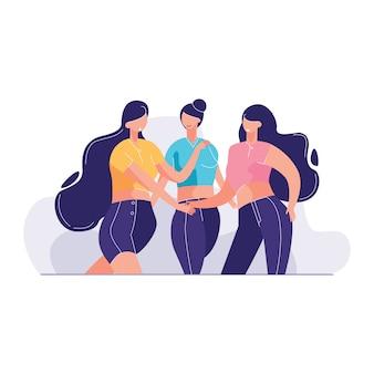 Illlustration di vettore di team friends showing unity with loro mani insieme
