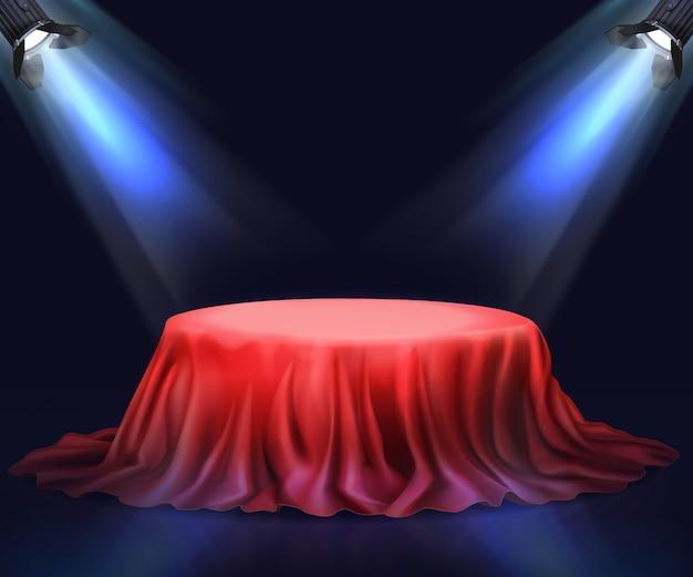 Illuminato nell'oscurità podio vettore realistico