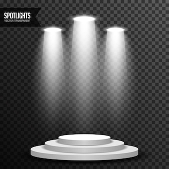 Illuminazione a luce spot con podio tondo trasparente