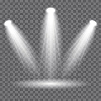 Illuminazione della scena, effetti trasparenti. faretti vettoriali, effetti di luce.