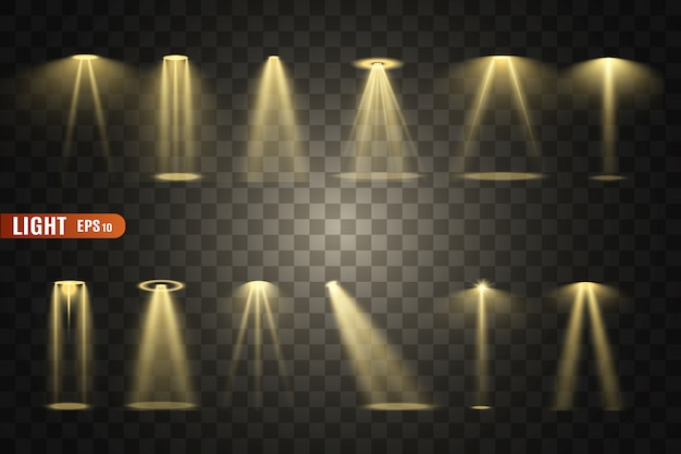 Illuminazione scenica, una collezione di effetti trasparenti. luce intensa con faretti.