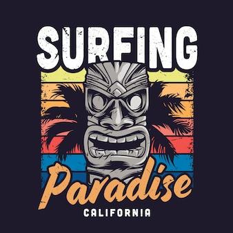 Illusione del paradiso del surf vintage