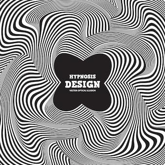 Illusione ottica astratta. contorto a strisce bianco e nero