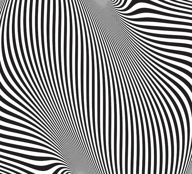 Illusione ottica. sfondo astratto con motivo ondulato. ricciolo a strisce bianco e nero