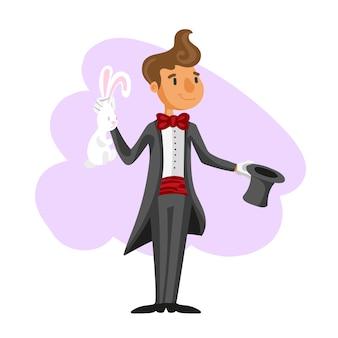 Illusionista divertente cartone animato in varie pose per l'uso in pubblicità, presentazioni