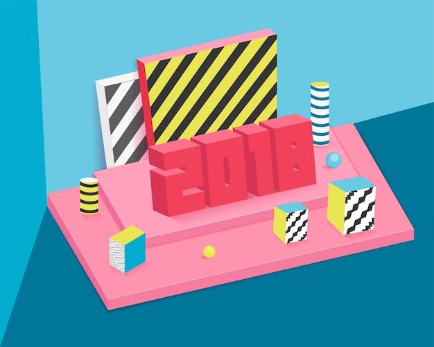 Illustartion 3d per le festività del nuovo anno 2018 con scatole regalo confezionate.