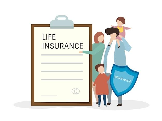 Illustartion di persone con assicurazione sulla vita