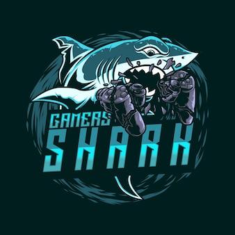 Illustartion mascot logo gaming shark con joy stick