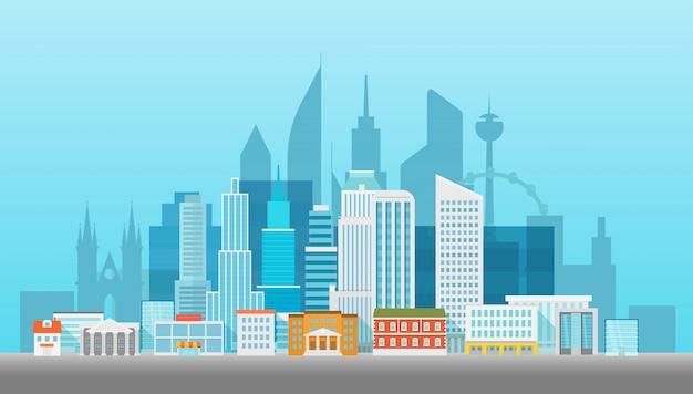 Illustartion moderno di vettore di paesaggio urbano. l'ufficio costruisce case e grattacieli