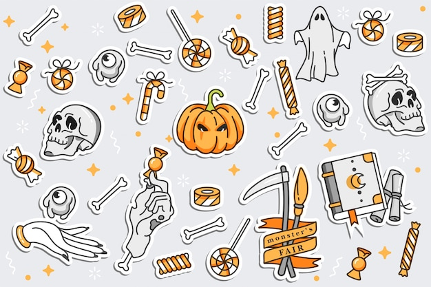 Illustartion set di icone lineari per happy halloween. badge ed etichette. distintivi e spille.