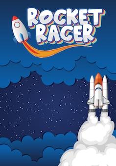 Illustracion con razzi spaziali nello spazio