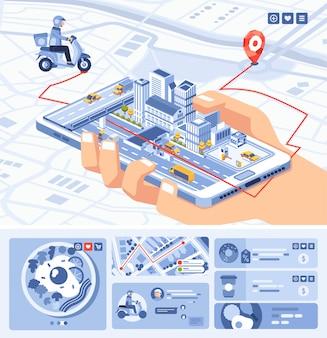 Illustraiton isometrico di applicazione mobile app cibo su smartphone con percorso sulla mappa