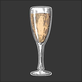 Illustraiton vintage in vetro champagne