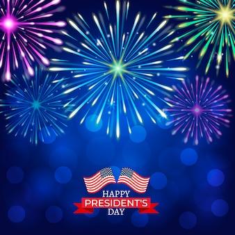 Illustrati i fuochi d'artificio colorati del giorno del presidente