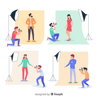 Illustratio con i fotografi in studio