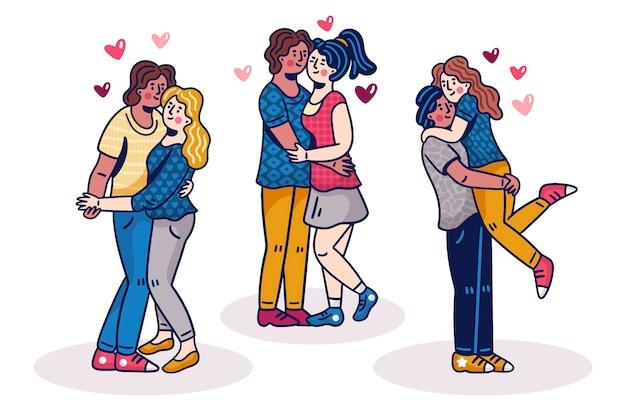 Illustratio con raccolta di coppia il giorno di san valentino