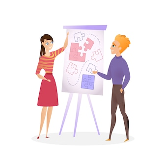 Illustration guy and girl are planning project
