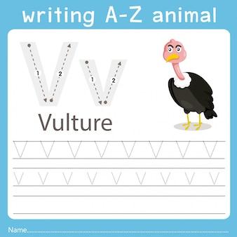 Illustrator che scrive az animal of vulture