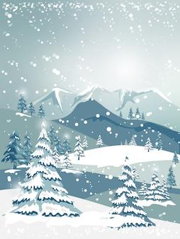 Illustrator natale e paesaggio invernale con alberi forestali su montagne blu