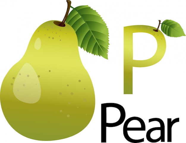 Illustrator p font with pear