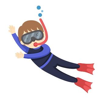 Illustratore del ragazzo subacqueo