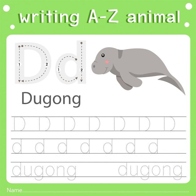 Illustratore della scrittura di az animal d dugong
