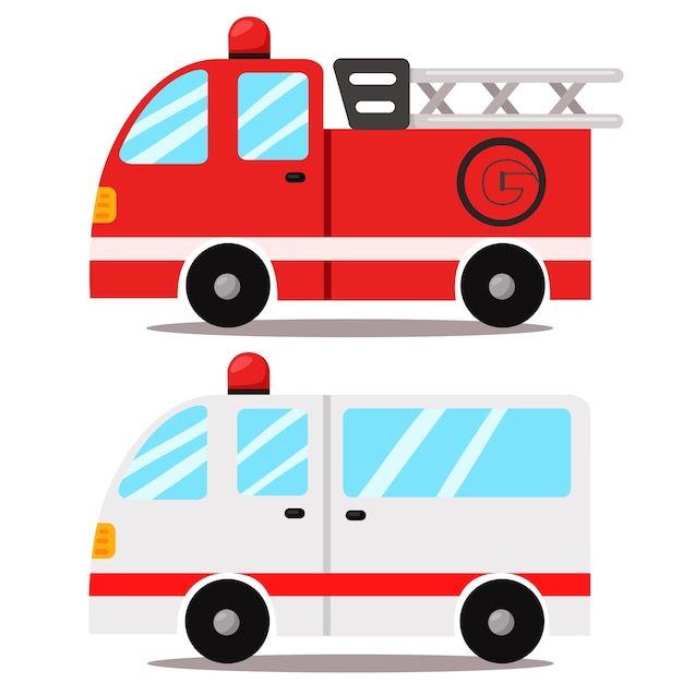 Illustratore di ambulanza e camion dei pompieri