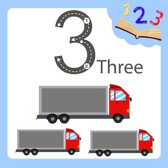 Illustratore di camion a tre numeri