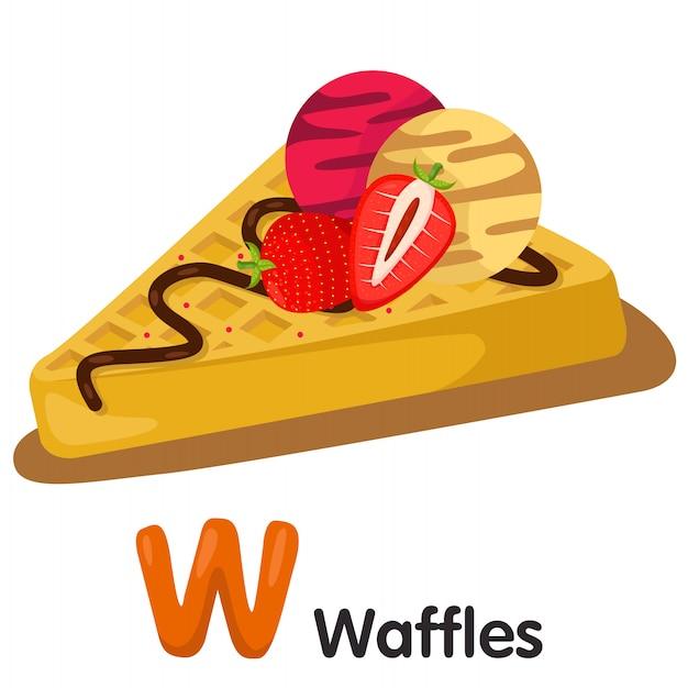 Illustratore di carattere w con waffle