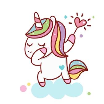 Illustratore di cartone animato unicorno