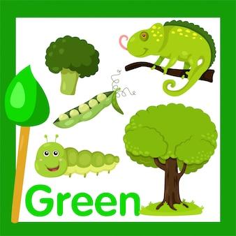 Illustratore di colore verde
