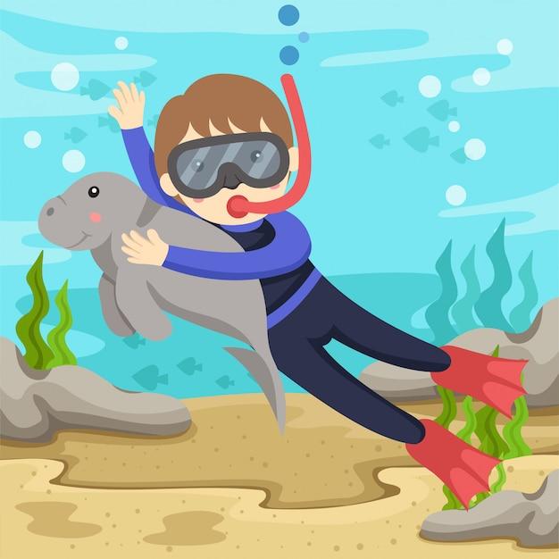 Illustratore di dugong and diver