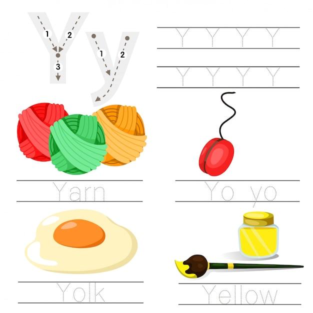 Illustratore di foglio di lavoro per bambini un font