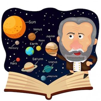 Illustratore di galileo e libro con universo