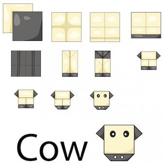 Illustratore di origami di mucca