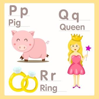 Illustratore di pqr con l'alfabeto della regina di maiale e dell'anello