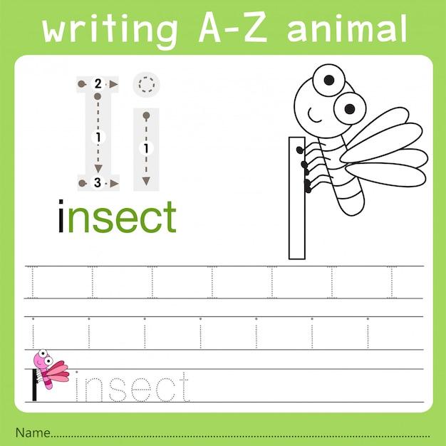 Illustratore di scrittura az animal i