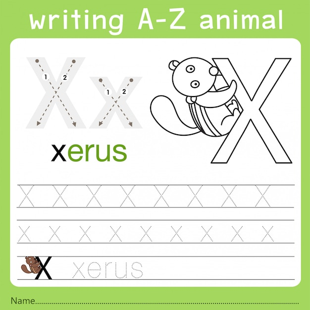 Illustratore di scrittura az animal x