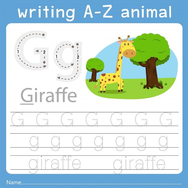 Illustratore di scrittura az animale g