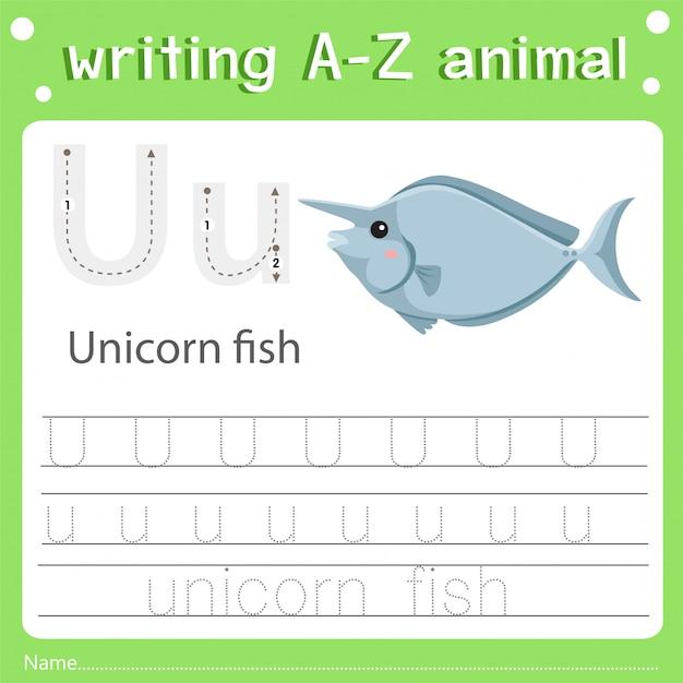Illustratore di scrittura del pesce dell'unicorno u dell'animale di az