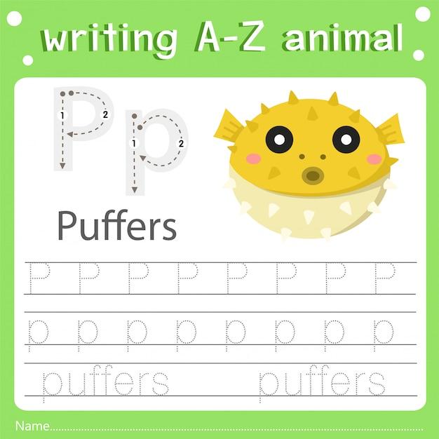 Illustratore di scrivere puffers animali az